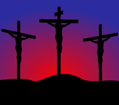Jesus crucified between to sinners